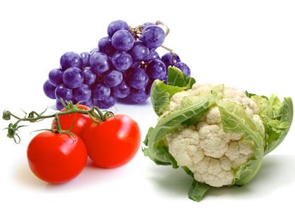 uva, pomodori e cavolfiore ricchi di resveratrolo, licopene e tetracarbinolo