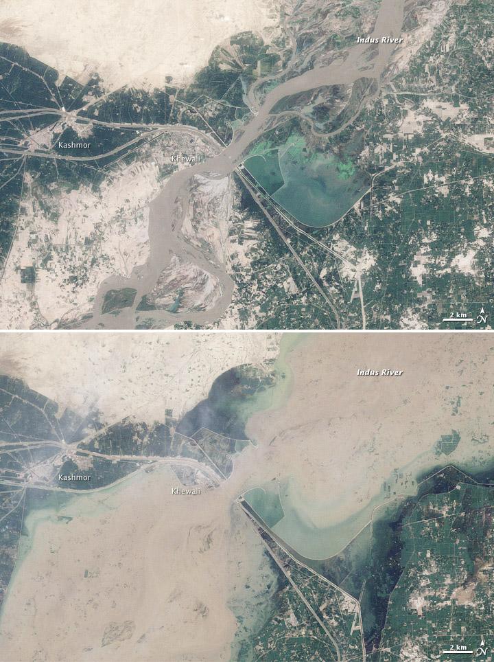 Flooding near Kashmor, Pakistan August 2010 - NASA Goddard Photo and Video